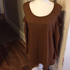 French Laundry brown cold shoulder blouse size 1X
